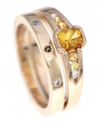 Citrine Fairtrade Gold Engagement Wedding Ring Set