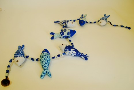 Recycled Blue Fish String Mobile