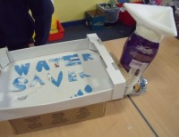 A working model! Cleans rainwater through various filters for safe drinking water
