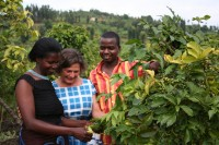 Harriet Lamb with coffee farmer in Rwanda