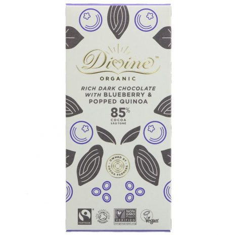 Divine Organic Dark Chocolate with Blueberry and Popped Quinoa